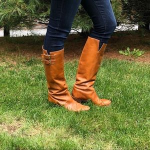 J.Crew camel-colored tall leather boots